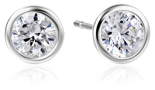 Amazon Essentials Sterling Silver AAA Cubic Zirconia Bezel Stud Earrings (6mm)