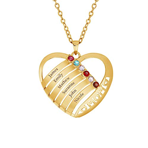 KIKISHOPQ Personalized Mothers Necklace 6 Birthstone Mom Necklace Family 6 Name Necklace(Gold-Plated-Base 20) ()