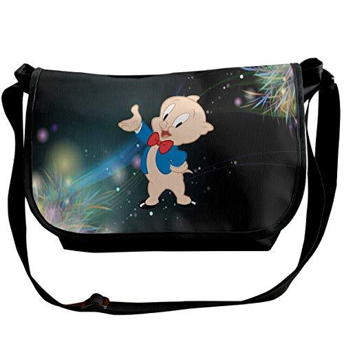 Fashion Space Porky Pig Classic Pose Mens Womens Wide Diagonal Shoulder Bag Casual Messenger School Adjustable Shoulder Tote Bag