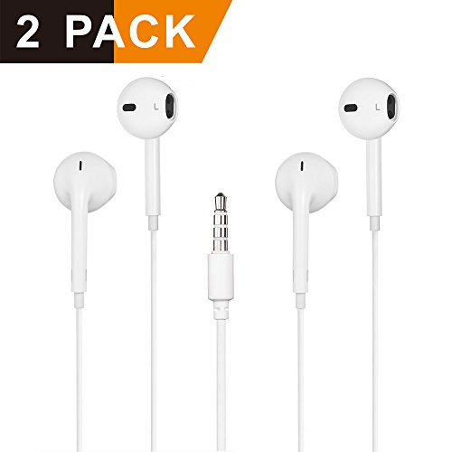 Earbuds,DissX Headphones with Microphone Stereo Earphones with Mic and Remote Control 2Pack for