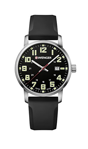 (Wenger Men's Sport Stainless Steel Swiss-Quartz Watch with Silicone Strap, Black, 22 (Model: 01.1641.110))