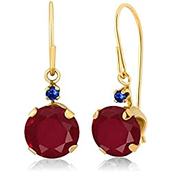 2.14 Ct Round Red Ruby Blue Sapphire 14K Yellow Gold Earrings