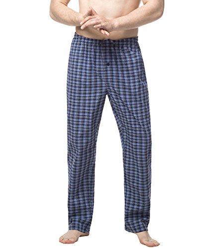 LAPASA Men's 100% Cotton Woven Pajama Lounge Sleep Pants Plaid PJ Bottoms w Drawstring M38 (XL Waist 40