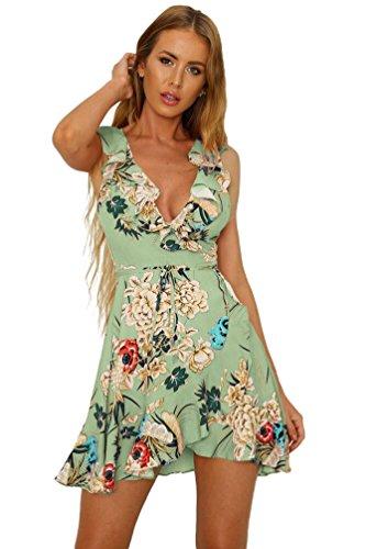 Sentao Mujer Vintage Floral Vestidos Elegante Verano Sin Mangas Vestido de Fiesta de Noche Verde Claro