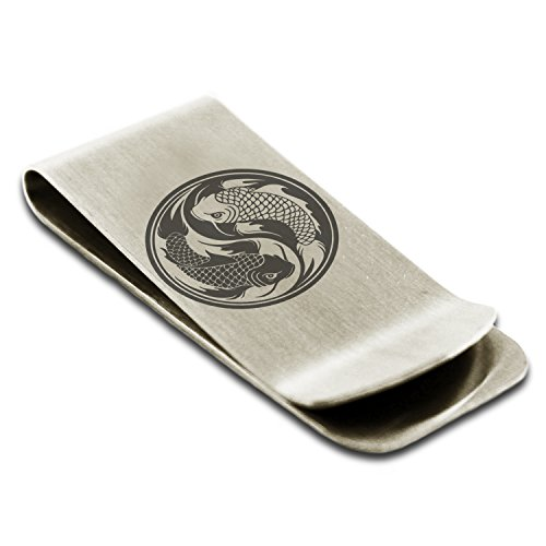 - Stainless Steel Koi Fish Yin Yang Symbol Engraved Money Clip Credit Card Holder