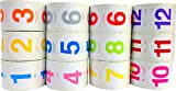 1.5'' Round Colored Number Stickers | Adhesive Labels with Numbers 1 Through 12