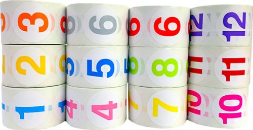 1.5'' Round Colored Number Stickers | Adhesive Labels with Numbers 1 Through 12 by InStockLabels.com