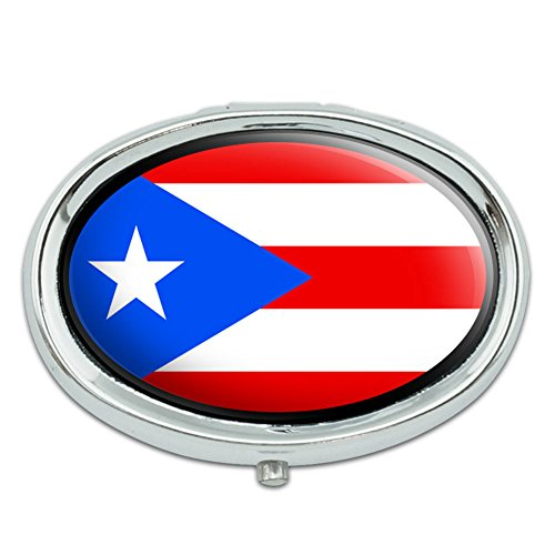 Flag of Puerto Rico Metal Oval Pill Case ()