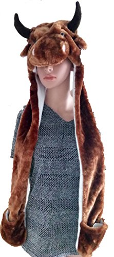 Varied Animal Hat Gloves Scarf 3 In 1 Set - BIG HIT GIFT FOR KIDS/BOYS/GIRTLS in 4-10 yr - Costume Hood Toy (Brown (Cow Costume For Kids)