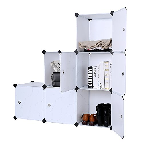 C&AHOME - DIY Closet Organizer Media Storage Cabinet 6 Cube Toy Rack with Doors, marble color - 6 Drawer Cd Cabinet
