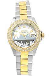 Invicta 90289 Women's Angel New York White MOP Dial Two Tone Steel Bracelet Dive Watch