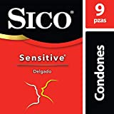Condones de Látex, Sico Sensitive, Color Natural, Cartera con 9 Piezas