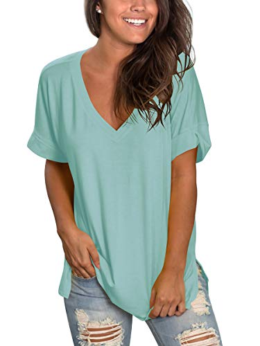 Womens Short Sleeve V Neck Shirt Summer Cute Tops Side Split Aquamarine ()