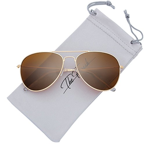 Classic Metal Frame Sunglasses (The Fresh Classic Large Metal Frame Polarized Lens Aviator Sunglasses with Gift Box (Gold, BROWN))