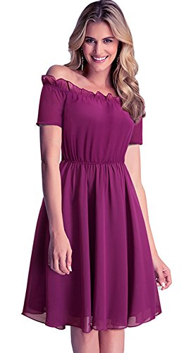 [Merope J Womens Short Sleeves Chiffon Off Shoulder Sweet Cocktail Dress(XL,Rose)] (Cute Conservative Halloween Costumes)