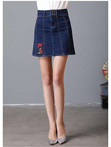 Oudan Denim Jean Bleu en Taille Femme Jupe en pour Haute YEqOCYrxw