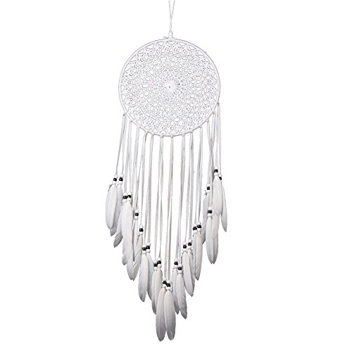 Malicosmile White Feather Dream Catcher, Handmade Knitted Crochet Wall Hanging Decorations Dream Catchers for Car, Home, Bedroom Ornament