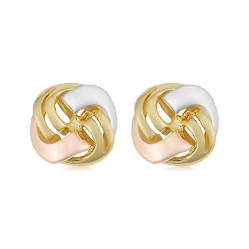 14k Tricolor Gold Love Knot Stud Earrings by Kooljewelry (Image #1)