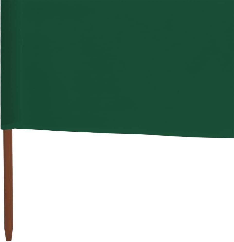 vidaXL Paravento a 3 Pannelli in Tessuto Verde Schermo Protezione Frangivento