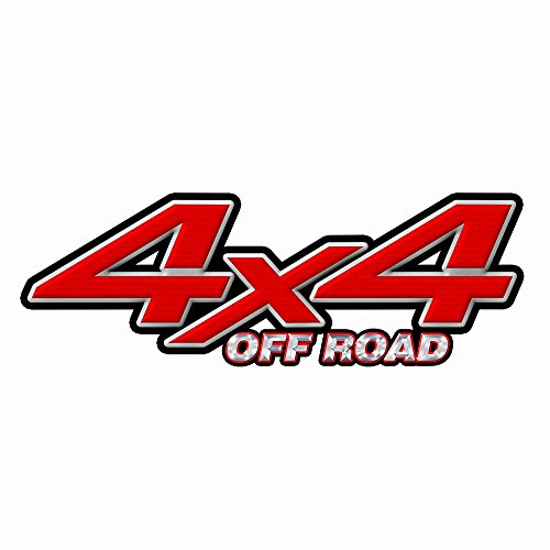 Speed Demon Hot Rod Shop 4x4 Off Road Decal ~ Red & Black Diamond Plate 4WD Truck Stickers (set of 2) OR4