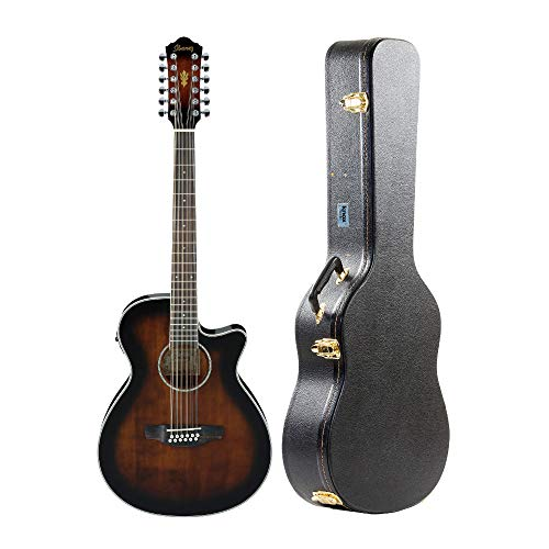 Ibanez AEG1812II 12-String Acoustic-Electric Guitar Bundle with Knox Protective Hard Case (2 Items)