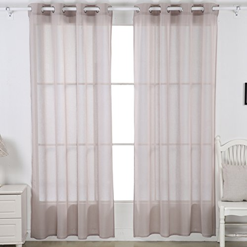 Deconovo Linen Look Voile Curtain Sheer Grommet Top - 95 Inch Curtain Panels Set