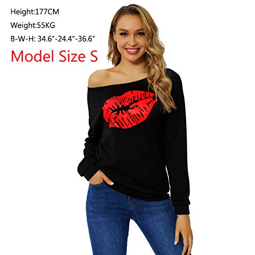 Begonia.K Women\'s Sexy Pullover Lips Print Casual Off the Shoulder Slouchy Shirt, Red Lip, Medium