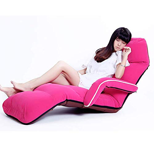 Mobile Adjustable Chaise Lounge - YLCJ Floor Chair Japanese Arm Chair Chaise Longue Tatami Flooring Leisure Chair Legless Mobile Window Pink