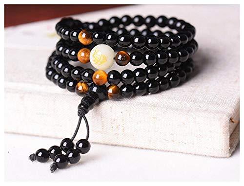 (Black Buddha Beads Bangles & Bracelets Handmade Jewelry Ethnic Glowing in The Dark Bracelet for Women or Men hxx824z290-6mm Rabbit)
