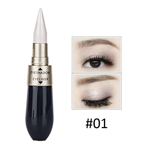 Real Silky Soft Dual Use Eye Liner Double-end Waterproof Liquid Eye Shadow Paste Combination Easy To Wear Makeup (#A)