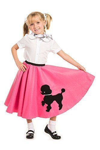 Kidcostumes Poodle Skirt with Musical Note Printed Scarf Hot Pink -