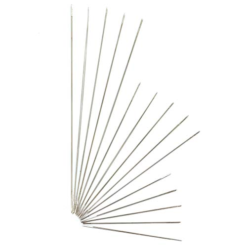15 Pack Big Eye Beading Needles 3 Sizes - Easy to Thread, Reduces Fumbling, Great for All Jewelry Making and Beading Projects - Includes Needle Tube