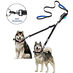 YOUTHINK Dual Dog Leash 360°No Tangle Double Handle Leash Dog Walking & Training Leash Reflective Adjustable Dog Leash for 2 Dogs up to 110 lbs, with Waste Bag Dispenser 7