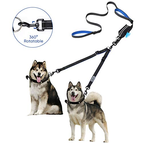 - YOUTHINK Dual Dog Leash 360°No Tangle Double Handle Leash Dog Walking & Training Leash Reflective Adjustable Dog Leash for 2 Dogs up to 180 lbs, with Waste Bag Dispenser