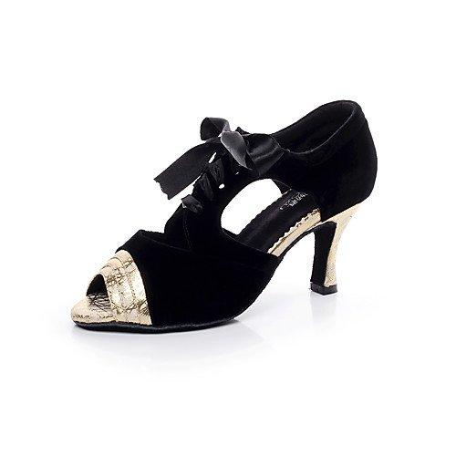 T.T-Q Damen Tanzschuhe Wildleder Flared Heel Professional Silber Gold Latin Sandalen Salsa Jazz Tango Swing Praxis Indoor Performance  38|Silber