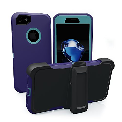 iPhone 7 Case, iPhone 8 Case, ToughBox [Armor Series] [Shock Proof] [Purple | Aqua] for Apple iPhone 7/8 Case [Built in Screen Protector] [with Holster & Belt Clip] [Fits OtterBox ()