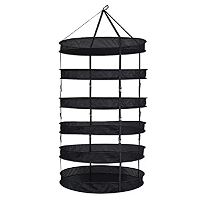 """Grow Pro 6 Tier 3' Diameter (36"""") Hanging Flower Plant Drying Cure Quick Herb Curing Net Dry Rack Plus Storage Bag, Large, Black"""