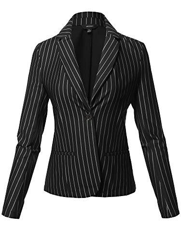 Casual Stylish Patterned Long Sleeves Blazer Jacket Black Size L