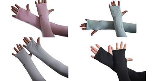 Auch 4 Pairs Dul-Purpose Sun Protection Cooler Fingerless Arm Sleeves Cover for Bike/Hiking/Golf/Cycling/Fishing/Driving/Jogging/Claiming (Black,White,Pink&Light Blue Color)