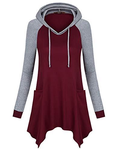 Gaharu Women Hoodies & Sweatshirts, Pullover Hoody Tunic Casual V Neck Cute Sweathirts Ribbed Long Sleeve Hooded T Shirt Wine,M ()