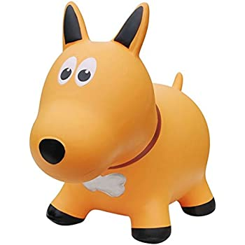 Farm Hoppers Award Winning Inflatable Bouncing Yellow Dog with Pump