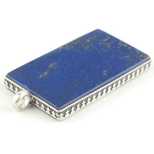 (Lapis lazuli and sterling silver pendant rectangular shaped and royal blue color 1.34x0.83x0.16 inch)