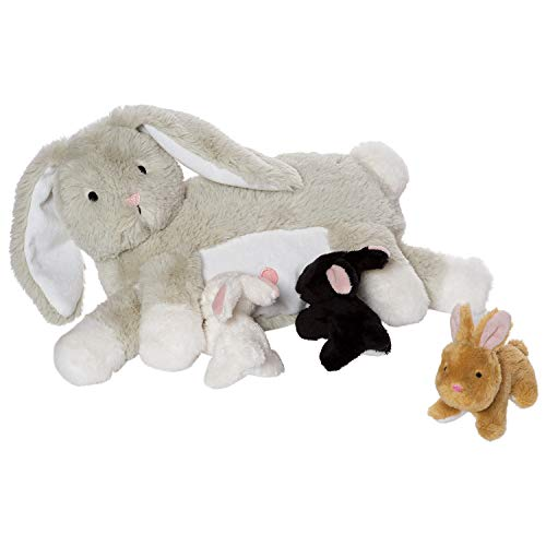 Manhattan Toy Nursing Nola Rabbit Stuffed Animal with 3 Bunnies