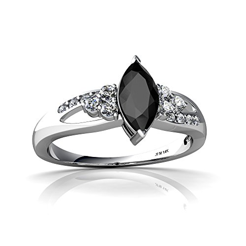 14kt White Gold Black Onyx and Diamond 8x4mm Marquise Antique Style Ring - Size 6 ()