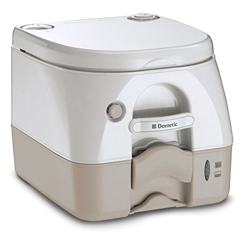 Dometic W 301097402 970 Series Portable Toilet-2.6 Gallon, Tan with Stainless Steel Hold-Down Brackets