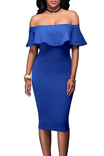 De Shoulder Slim Blue Fit Mujer Vestido Off Coctel M Evening Fiesta 05SwTUqC