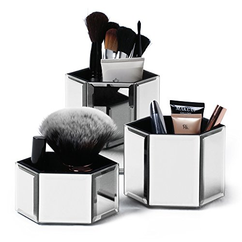 mirrored glass makeup cosmetic storage organizer set 3 brushes jewelry new ebay. Black Bedroom Furniture Sets. Home Design Ideas