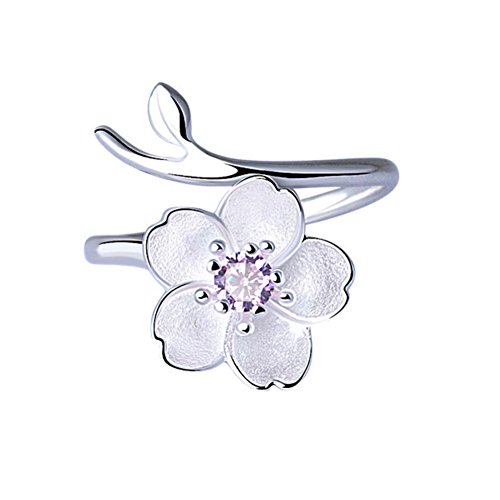 ISAACSONG.DESIGN 925 Sterling Silver Statement Adjustable Ring for Women Love Heart, Teardrop, Cat, Pearl Charms (Amethyst Crystal SAKURA Flower)