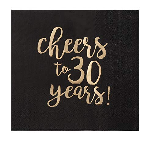 (Luncheon Napkins - 50-Pack 30th Birthday Cheers to 30 Years Disposable Paper Napkins, 3-Ply, Black with Gold Foil, Party Decoration Supplies, Folded 6.5 x 6.5 Inches)