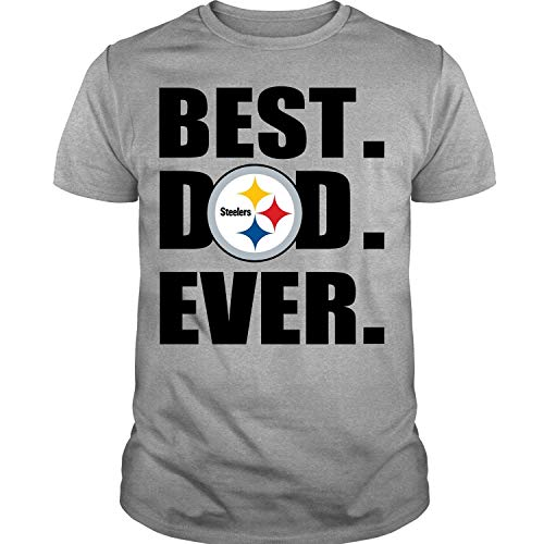 07b66619b46 NJERSTORE Pittsburgh Steelers Logo T Shirt, Best Dad Ever T Shirt (XL,  Sport Gray)